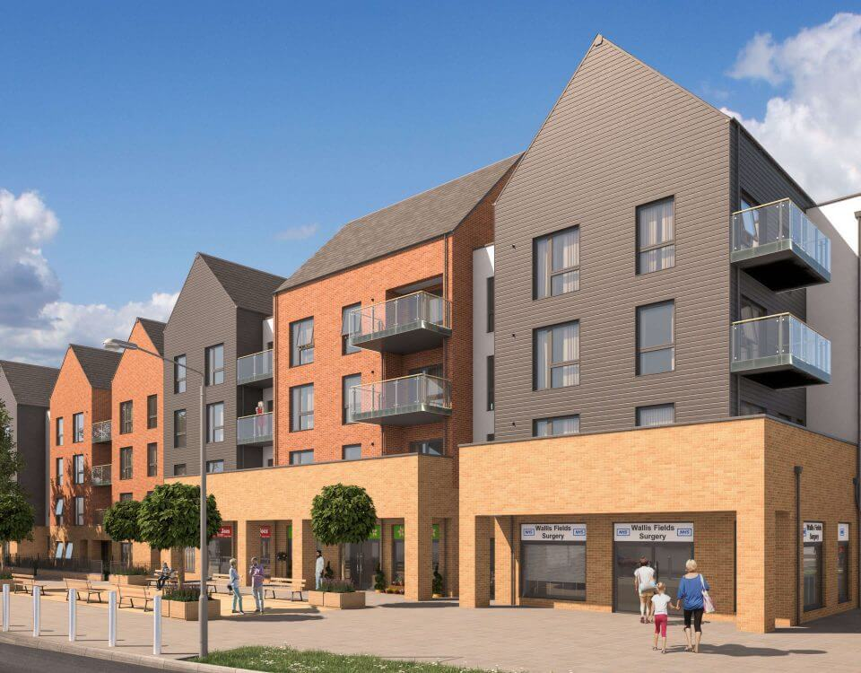 Local Shops and Residential CGI